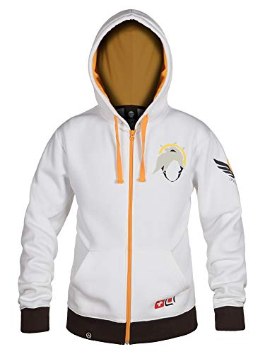 JINX Overwatch Ultimate Mercy Zip-Up Hoodie, White, XX-Large
