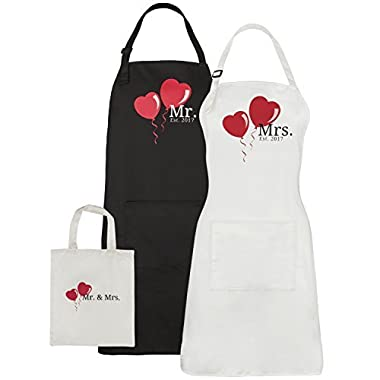Mr. and Mrs. Aprons Est. 2017, His Hers Wedding Aprons For Couples - Bridal Shower or Engagement Gift Set with Pocket and Gift Bag By Let the Fun Begin