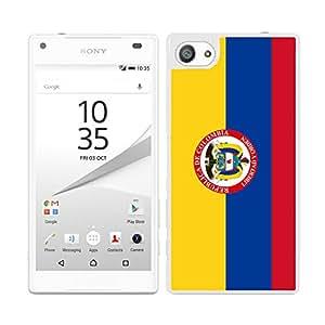 FUNDA CARCASA PARA Sony Xperia Z5 Compact DISEÑO BANDERA COLOMBIA CON ESCUDO BORDE BLANCO