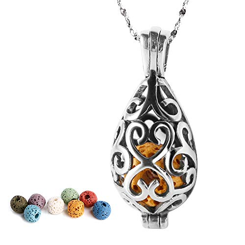 Maromalife Polished Essential Oil Necklace 316L Stainless Steel Necklace Diffuser Pendant Locket Silver Teardrop with 8 Colors Lava Beads