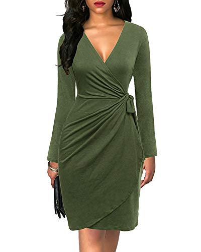 - Womens Cocktail Party Dress Deep V Neck Draped Waist Tie Belt Faux Wrap Midi Dress