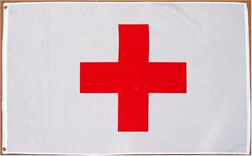 Red Cross Flag - 3 foot by 5 foot Polyester (NEW)