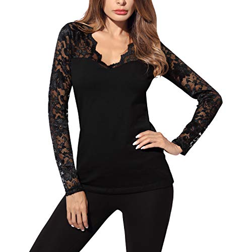 DJT Women's V-Neck Floral Lace Overlay Lined Long Sleeve Top X-Large Black ()