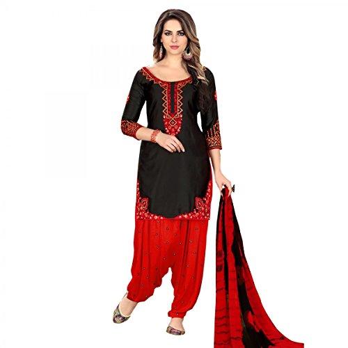 Delisa Ready Made Patiala Salwar Embroidered Cotton Salwar Kameez Suit India/Pakistani Dress (Black-1, - Suit Cotton Salwar