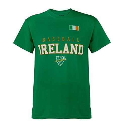 Irish Foundation - Green Baseball Ireland Irish Flag and Harp T-shirt (Large)