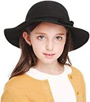 36a83aa4a Kids Girl's Vintage Dome Wool Felt Bowler Cap Floppy Hat Bow,Black ...