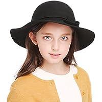 Bienvenu Kids Girl's Vintage Dome 100% Wool Felt Bowler Cap Floppy Hat Bow