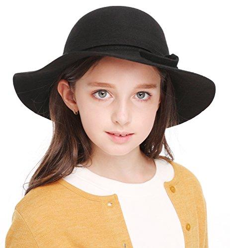 Kids Girl's Vintage Dome Wool Felt Bowler Cap Floppy Hat (Felt Hats For Sale)