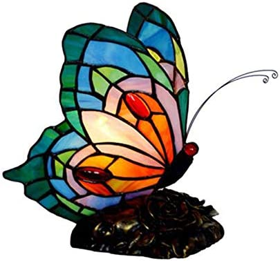 LITFAD Bedside Table Lamp Stained Glass Butterfly Desk Light 1 Head Tiffany Antique Plug-in Table Light