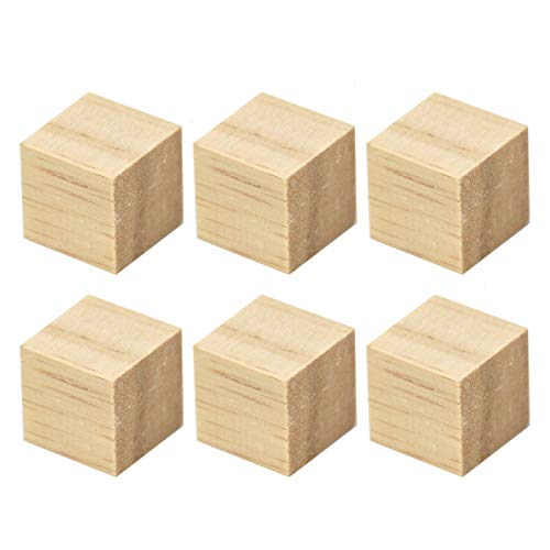 WSSROGY Pack of 100 Mini Wood Cubes Natural Unfinished Craft Wood Blocks Wood Square Blocks for Puzzle Making Crafts DIY Projects,2cm x2 cm x2 cm (100 Pc Blocks Wooden Colored)