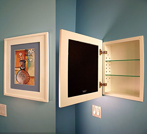 amazoncom 14x18 espresso concealed cabinet large a recessed mirrorless medicine cabinet with a picture frame door home u0026 kitchen