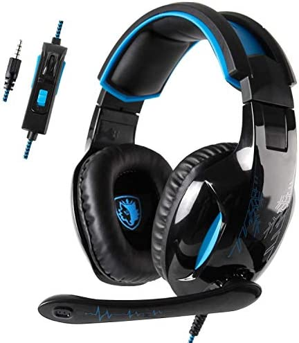 [ Newest Version] SADES SA816 Xbox One, PS4 Gaming Headset with 3.5mm wired Over-ear Noise Isolating Microphone Volume Control for New Xbox one/ PS4/PC /Laptop /Mac /iPad /iPod(Black&Blue)