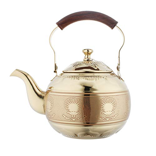 OMGard Gold Tea Pot with Infuser Loose Tea Leaf Filter 1.5 Liter Stainless Steel Teapot Coffee Water Small Kettle Strainer Set Warmer Teakettle for Stovetop Induction Stove Top 1.6 Quart / 51 Ounce -