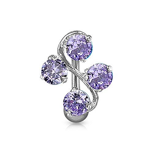 West Coast Jewelry {Tanzanite} Navel Belly Button Ring with 4-Gem Vine - 14 GA 3/8