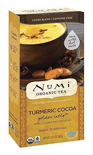 Numi Organic Tea Turmeric Cocoa, 24 Servings, Golden Latte Powder, Caffeine-Free (Packaging May Vary)