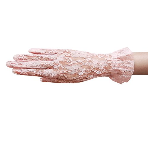 ZaZa Bridal Flower Pattern Women's Lace Gloves with Ruffle Wrist Length-Pale (Pink Lace Gloves)