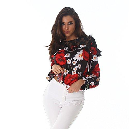 7359576f8f ... Larga Blusas Encaje Manga Voyelles Floral Túnica Camisa Negro Blusa De  Señoras La Las Jersey Volantes ...