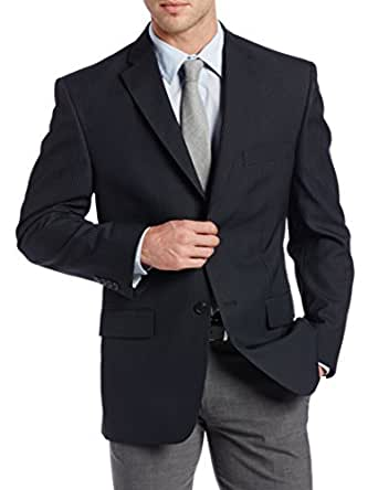Haggar Men's Blue Stripe Two Button Suit Separate Coat,  Charcoal, 42 L