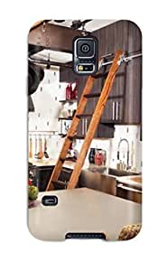 BpBbXfd11853GOxEy Case Cover, Fashionable Galaxy S5 Case - Eclectic Kitchen With Ladder To Reach Upper Cabinets