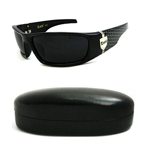 Locs Brand Sunglasses with Black Out Lenses and Locs Emblem & Striped Design on Stem with Hard Protective Case - Wholesale Sunglasses Locs