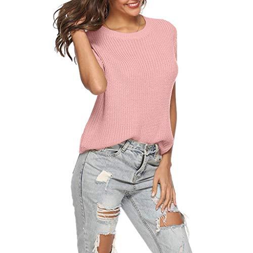Keliay Bargain Women Sexy Knitwear Vest Short Sleeve O-Neck Sweater Fashion Long Tops