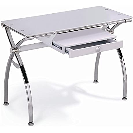 New Spec Ergonomic Computer Desk Table With Drawer And Chrome Frame White