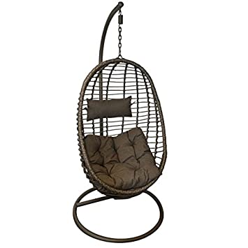 Wild Garden Wicker Effect Weave Hanging Egg Chair With Cushions