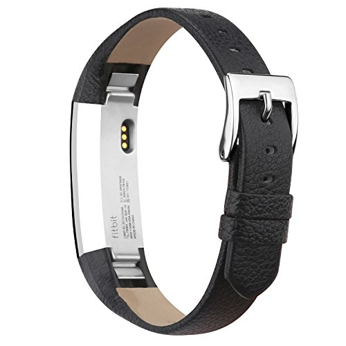 iGK Leather Replacemnt Bands Compatible for Fitbit Alta and Fitbit Alta HR, Genuine Leather Wristbands with Stainless Steel Buckle Black