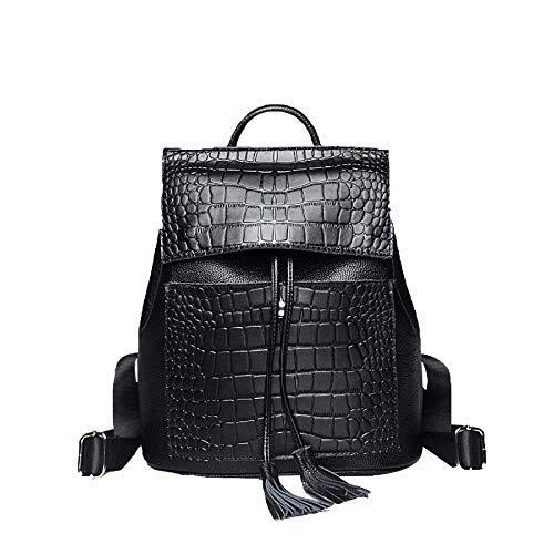Crocodile Tassel - Zhao Liang Casual Leather Women's Shoulder Bag Crocodile Textured Tassel Bag Backpack