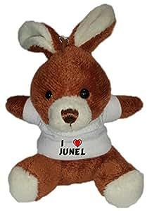 Conejito de peluche (llavero) con Amo Junel en la camiseta (nombre de pila/apellido/apodo)