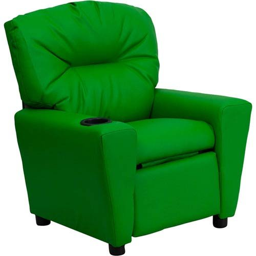Parkside Contemporary Green Vinyl Kids Recliner with Cup Holder