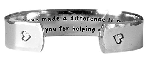 Hand Stamped Bracelet | Secret Message, Textured Aluminum | You Have Made a Difference in My Life. Thank You for Helping Me Grow.