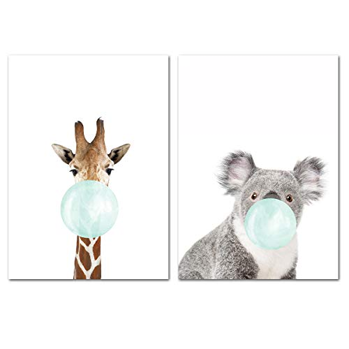 MISDECOR Animal Zebra Giraffe Koala Elephant Blue Bubble Gum Canvas Print Poster Wall Picture Painting Art for Baby Infant Kids Room Nursery Decoration (Giraffe,Koala, 19.68