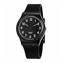 SWATCH WOMEN'S 34MM BLACK SILICONE BAND PLASTIC CASE QUARTZ WATCH GB247T