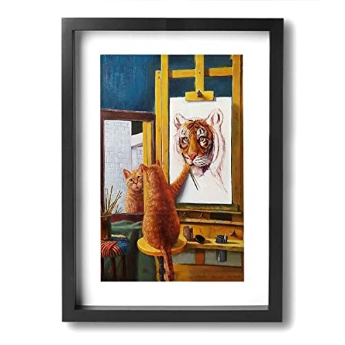 SRuhqu Canvas Wall Art Prints Self-Portrait of Cat As A Tiger -Picture Paintings Modern Home Decoration Giclee Artwork-Wood Frame Ready to Hang ()