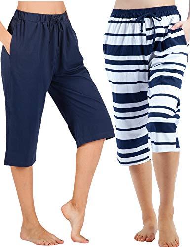 WEWINK CUKOO 100% Cotton Women Pajama Capri Pants Lounge Pants with Pockets Sleepwear (M=US 8-10, Navy+ Navy Stripe)