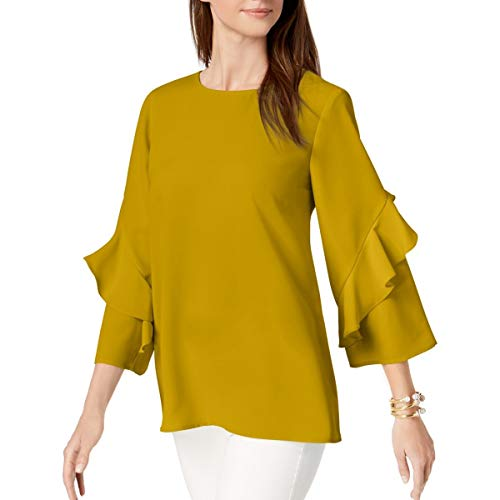 Alfani Womens Ruffled Sleeves Zip Back Blouse Yellow XL from Alfani