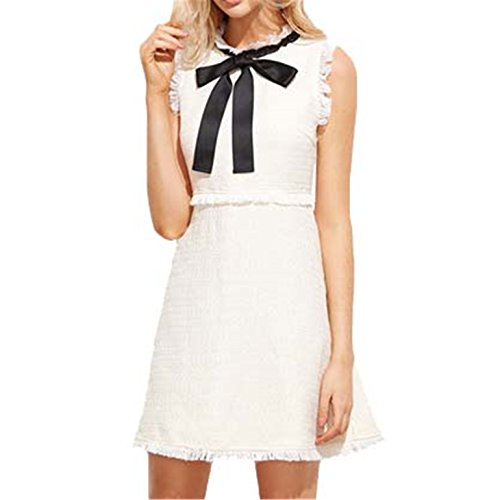 Autumn Dresses Women NEW Ladies White Party Dresses Bow Tie Neck Sleeveless Elegant Frayed Trim Tweed Dress Tweed Mini Dress