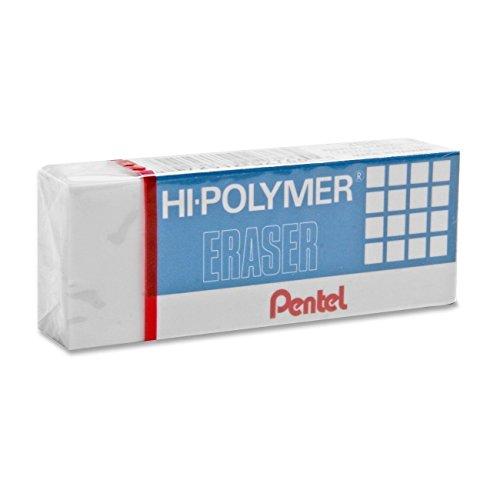 Pentel ZEH10BP3K6 Hi-Polymer Block Eraser, White