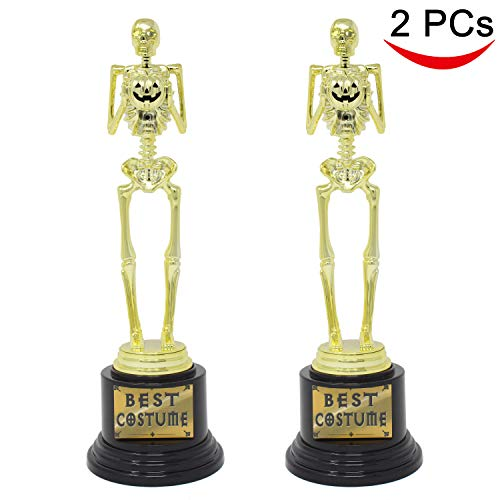2 Halloween Best Costume Skeleton Trophy for Halloween Skull Party Favor Prizes, Gold Bones Game Awards, Costume Contest Event Trophy, School Classroom Rewards, Treats for Kids, Goodie Bag Fillers for $<!--$10.95-->