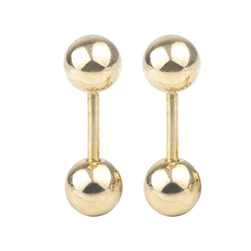 D-U 1Pair 16G 3mm Gold Stainless Steel Straight Barbell Tongue Rings Bars Piercing 6mm - 6mm Balls Straight Barbell