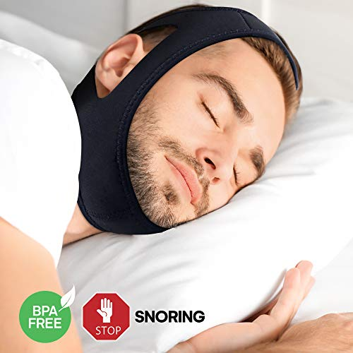 AsaVea Anti Snoring Chin Strap - Snore Stopper Solution, Adjustable Comfortable Soft Breathable Quality Sleep Aid Device