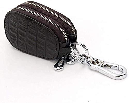 車のキーケース、メンズレディースバッグキーホルダースマートユニバーサルダブルファスナーフックコインパース用本革 (Color : Brown)