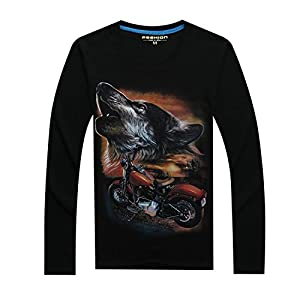 DUJUANNIAO Men Fashion Long Sleeve T-Shirt 3D Funny Animals Printed Casual Plus Size Tops Tees black10 Asian Size 3XL