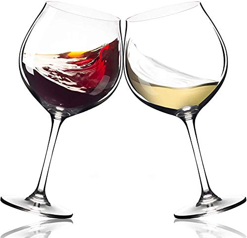 Season Story Extra Large Red Wine Glasses - Set of 2 wide rim 25 oz glass with stem, crystal balloon xl bowl size 4 Cabernet, tall stemmed oversize holds whole bottle, powerful novelty Valentines Day (Large Balloon Red Wine Glasses)