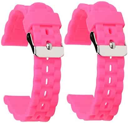 SANHEXING 2 Pack Tire Pattern Wavy Silicone Watch Bands 16mm Pink Premium Silicone Watch Straps Soft Rubber Watch Bands for Children