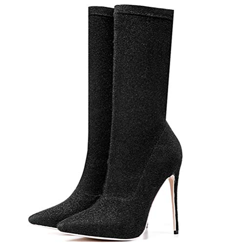 (T-JULY Women's Mid Calf Boots Sexy Shiny High Heel Boots Ladies Pointed Toe Shoes Plus Size 33-43)