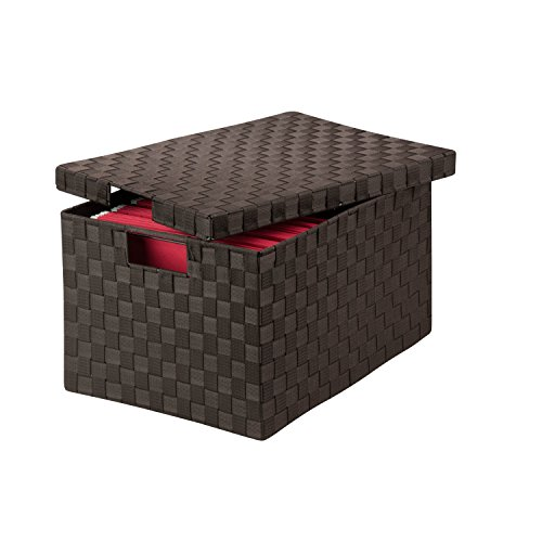 Honey-Can-Do OFC-03709 14 by 17.75 by 10.75-Inch Double Woven File Box with Lid and Handles, Large, Espresso Brown