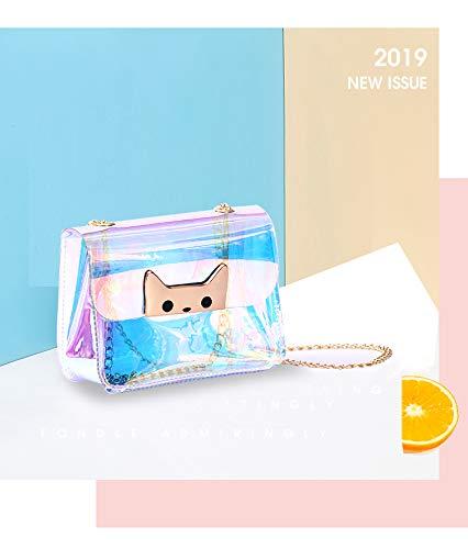 YLGAN Clear Bag with Magnet Buckle Cross Body Bag Womens Satchel Transparent Messenger Laser Handbag