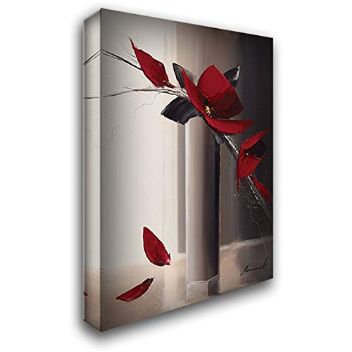 (Bouquet Rouge I 39x55 Extra Large Gallery Wrapped Stretched Canvas Art by Tramoni, Oliver)